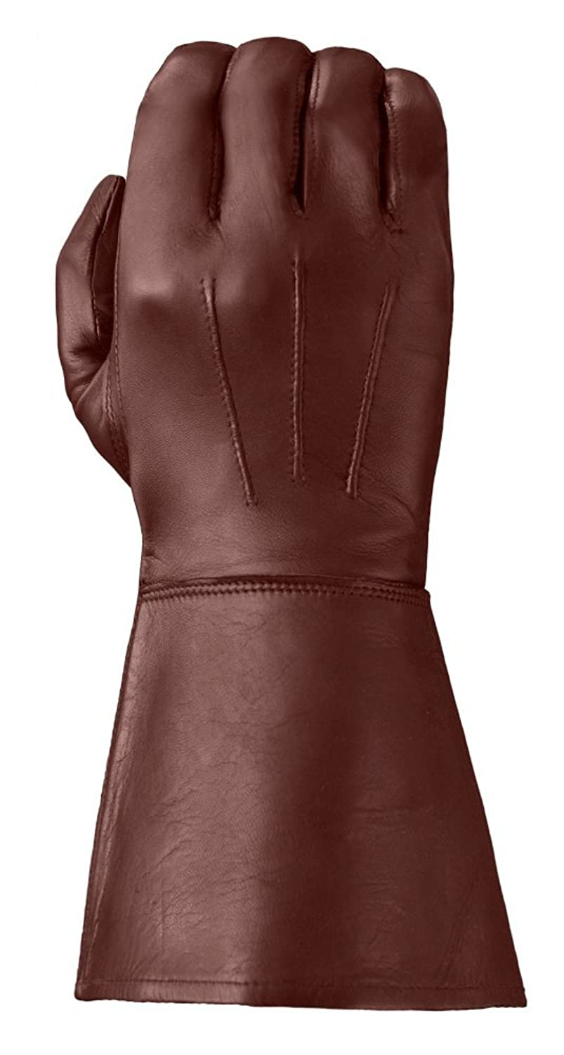 Deluxe Adult Costumes - Men's ultra enforcer chestnut leather gauntlet gloves
