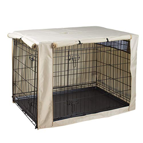 HiCaptain Polyester Dog Crate Cover, Durable Windproof Pet Kennel Cover Provided for Wire Crate Indoor Outdoor Protection (30 Inch, Tan) Review