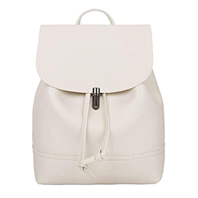 ec02621575 Women Basic PU Leather Stylish Backpack Purse Waterproof Nylon Anti-Theft  Rucksack Lightweight School Shoulder