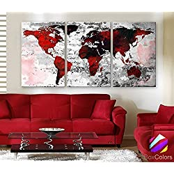 "Original by BoxColors LARGE 30""x 60"" 3 Panels 30""x20"" Ea Art Canvas Print Watercolor Texture Map Old brick Wall color red black white decor Home interior (framed 1.5"" depth)"