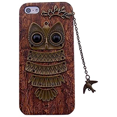 DADAWEN Unique Real Handmade Bird Chain Owl Hard Back Phone Case for Iphone 5 5s 6 6 Plus