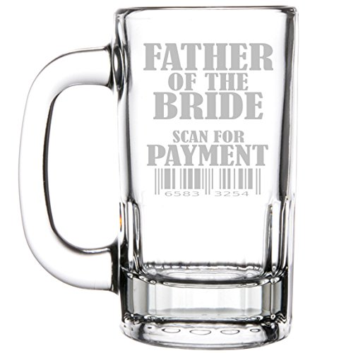 12oz Beer Mug Stein Glass Funny Wedding Father of the Bride Scan For Payment
