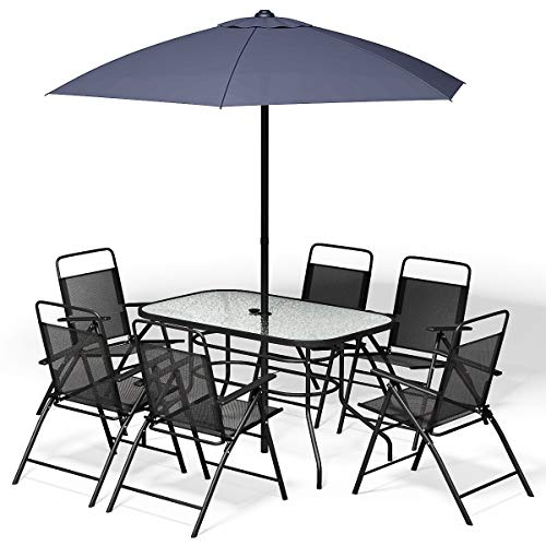 Giantex 8PCS Patio Garden Set Furniture 6 Folding Chairs Table with Umbrella Gray New
