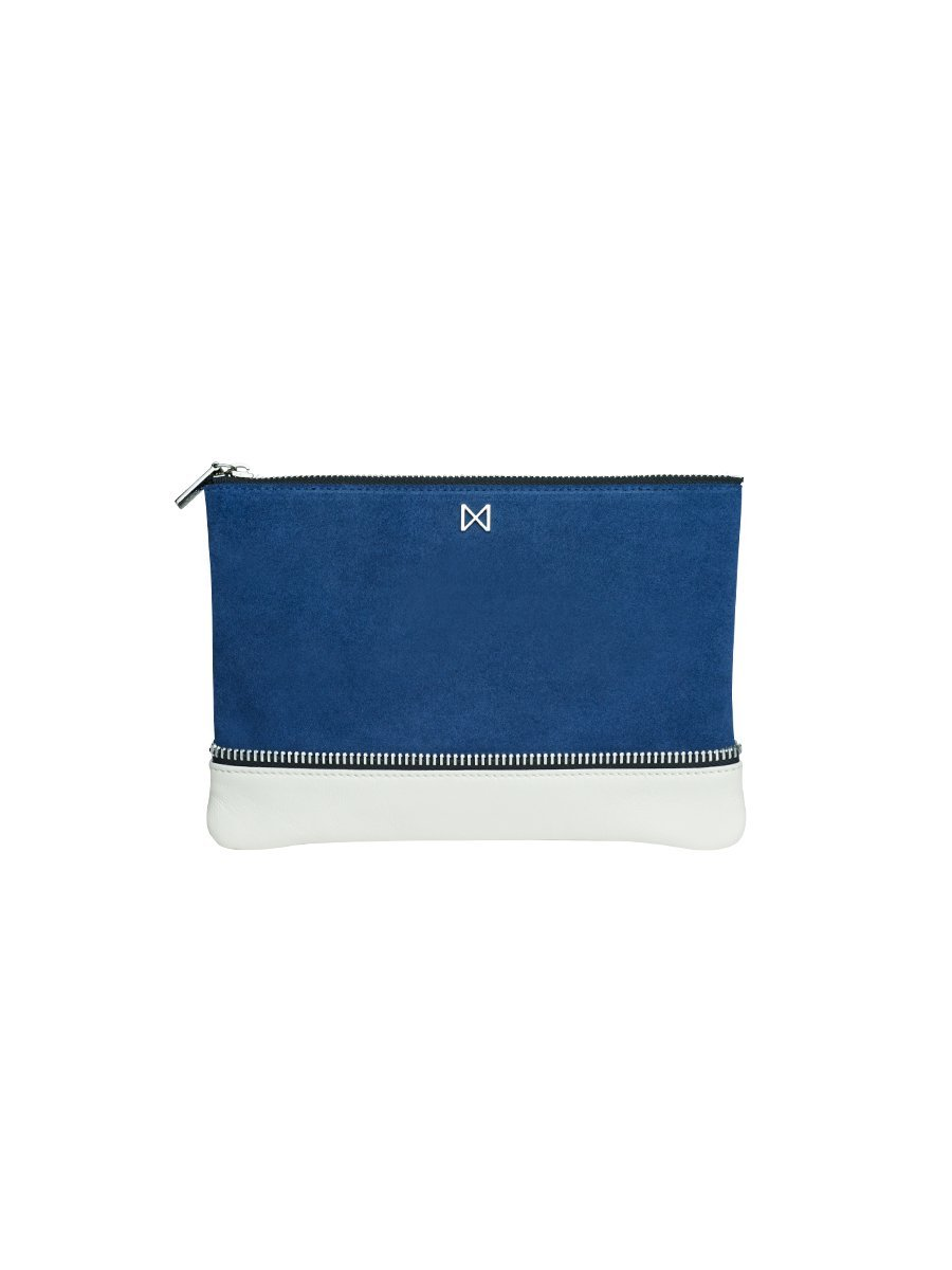 SAGE Flat Suede and Leather Dual-Textured Colorblock Pouch-Style Clutch with Zipper Trim Details by MOFE