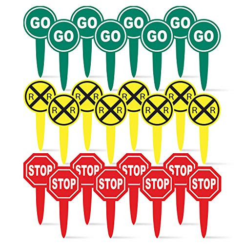 Railroad Crossing Sign Food Picks (24 pack, RR sign, Stop Sign, Go Sign) Railroad/Train Party Collection by Havercamp (Toppers Cupcake Railroad)