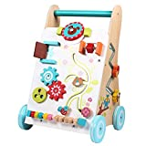 Ybriefbag-Toys Baby Three-in-one Activity Walker Wooden Walker Young Children's Trolley Walker Men and Women Baby Learn to Walk Pushing Toy Car (Color : Wood, Size : 32.531.550.5CM)