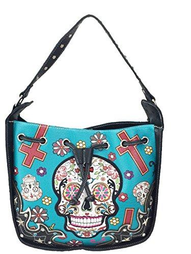 Cross Purse Bucket Trendy Teal Studded Cowgirl Body Skull Skull Bag Sugar TawnH1Y