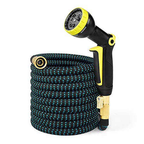 Pazaka Expandable Garden Hose 50FT with Solid Brass Connectors and The Latest New 3 Layer Stretchy Latex Technology for 2019, No-Kink, Flexible, Compact