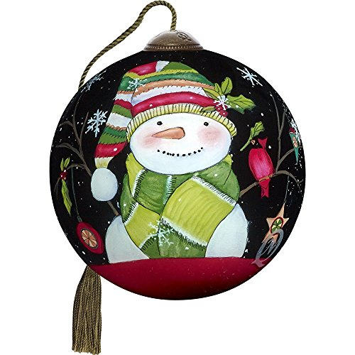 Reverse Painting Patterns Glass (Precious Moments, Ne'Qwa Art 7171149 Hand Painted Blown Glass Petite Round Shaped Decked Out for Christmas Smiling Snowman Ornament, 2.5-inches)