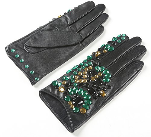 Ambesi Women's Stone-studded Nappa Leather Winter Gloves Black S (Nappa Studded Leather)