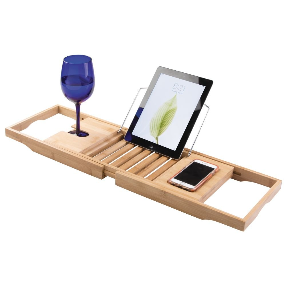 Amazon.com: InterDesign Formbu Bathtub Caddy with Reading Tray, Wine ...