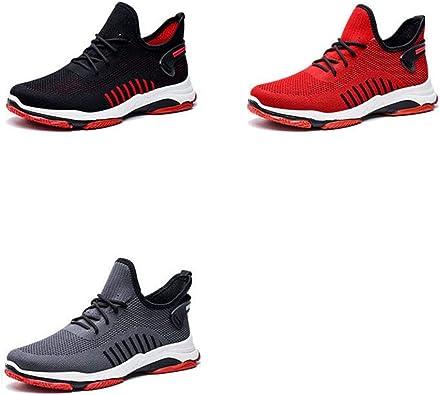 Hombres Zapatos Casuales Verano Volar Tejido Malla Transpirable con Cordones Antideslizante Zapatillas de Deporte duras para Hombre: Amazon.es: Zapatos y complementos