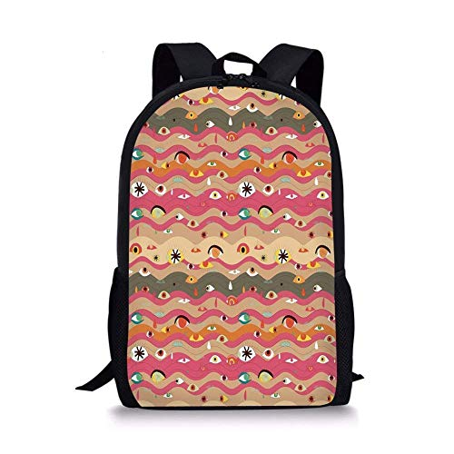 - School Bags Eye,Psychedelic Groovy Abstract Composition with Various Eyes Wavy Color Lines Hippie Art Decorative,Multicolor for Boys&Girls Mens Sport Daypack