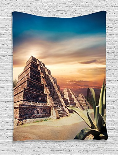 Ambesonne Mesoamerican Decor Collection, Aztec Pyramid At Sunset With  Dramatic Sky Staircase Old Ruins Landscape, Bedroom Living Room Dorm Wall  Hanging ...