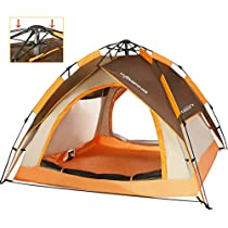 ZOMAKE Automatic Camping Tent 2 3 4 Person - Protable Dome Quick up Tent(Brown)