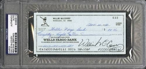 Willie Mccovey San Francisco Giants Signed Autographed PSA/DNA Slabbed Check 83393512