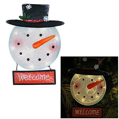 Alpine Corporation NOK138HH Metal 'Welcome' Snowman Sign ...