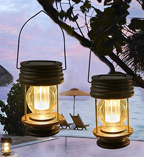 pearlstar Solar Lantern - Hanging Solar Lights Outdoor - 2 Pack Solar Powered Waterproof Led Lanterns Vintage Design for Landscape,Yard,Garden,Pathway,Beach,Pavilion Decoration (Warm Lights) (Lights Solar Lantern)