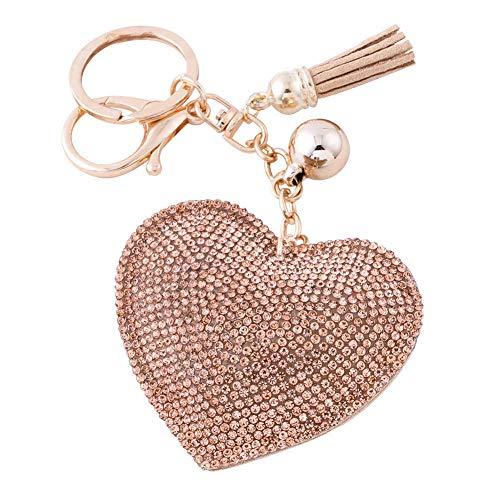 Soleebee Glitter Love Heart Keychain Premium SS6 Crystal Tassel Key Chain Leather Bag Charm for Women Girls (Champagne)
