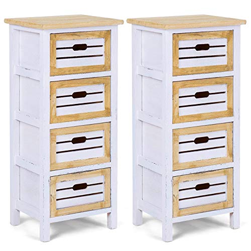 White Nightstands 2Pcs with 4 Drawers Chest Tall Bedside Table End Table Indoor Bedroom Storage Furniture Organizer Cabient Accent Table Living Room Chairside Oak Finish & eBook by BADA Shop