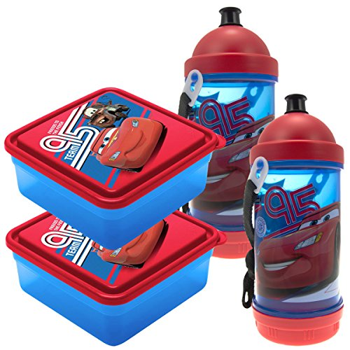 Set Of 2 Disney Cars Sip N Snack Canteen Bottles, 2 Chillpak Sandwich Containers Lunch For Kids