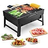 Uten Portable Barbecue Grill Stainless Steel Charcoal Smoker Char Broil BBQ Pit Grill for Ourdoor Camping (Small)