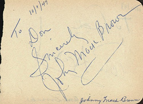Johnny Mack Brown – Autograph Note Signed Circa 1947 co-signed By: Ann Dvorak
