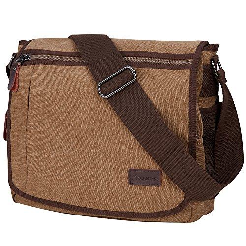 Laptop Messenger Bag for Men, Modoker Mens Canvas Vintage Shoulder Satchel Crossbody Bags Military for 13 Inch Laptop Computer for Women College School Work Brown (Vintage Military Shoulder Bag)