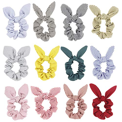 SUSULU Pack of 12 Striped Bunny Ear Hair Scrunchies Bow Elastic Hair Ties Ponytail Holder for Women Hair Accessories (12 colors)
