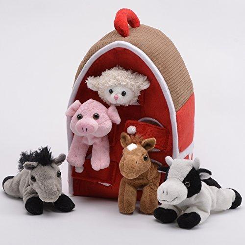 Plush Farm House with Animals- Five (5) Stuffed Farm Animals (Horse, Lamb, Cow, Pig, Grey Horse) in Play Farm House by Unipak