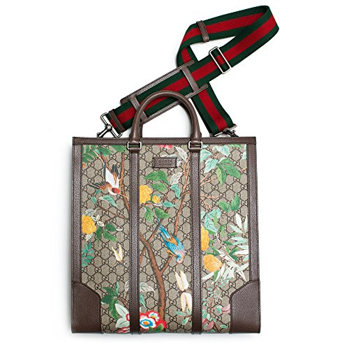 Gucci-GG-Plus-Tian-Bird-Tote-Beige-Ebony-Brown-leather-canvas-Authentic-Bag-New