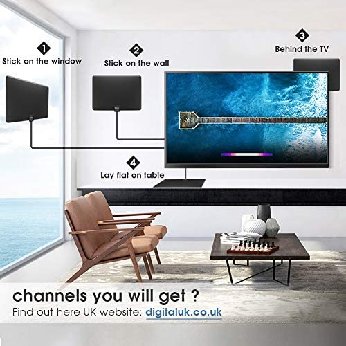 Biling Antena TV Interior- Antena TV portátil HD TV Digital 120 Millas con Amplificador de señal Inteligente para Canales, Apto para Todos los Tipos ...