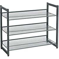 SONGMICS 3-Tier Shoe Rack Storage, Metal Mesh, Flat or Angled Stackable Shoe Shelf Stand for 9 to 12 Pairs of Shoes