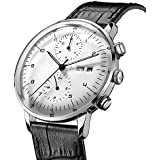Men's Watches Bauhaus Automatic Mechanical Watch Stainless Steel Bracelet Dress Watches for Men -42mm Case … (White-2)