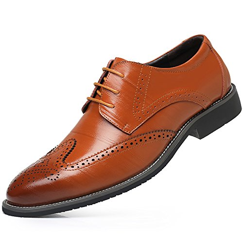 WEEN CHARM Men's Leather Dress Oxford Shoes Brogue Wing-Tip Lace up Modern Business Shoes by WEEN CHARM
