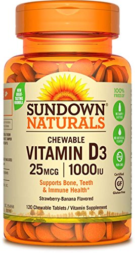 Sundown Naturals Vitamin D3 1000 IU, 120 Chewable Tablets (Pack of 3)