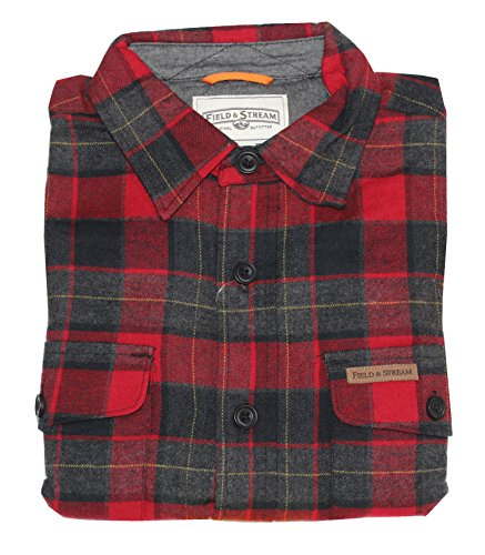 Field & Stream Mens Double-Sided Brushed Flannel Shirt Medium Red