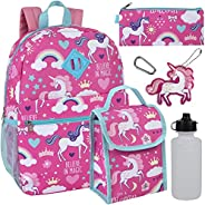 Girl's 6 in 1 Backpack With Lunch Bag, Pencil Case, Keychain, and Accesso