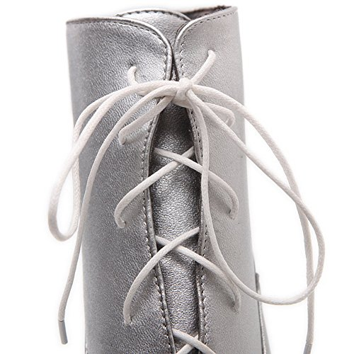 Boots Soft Material Girls Mule Silver Up Heel Wheeled Lace AdeeSu Shoes g0qnOz8U8