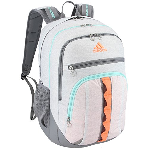 adidas Prime III Backpack, Jersey White/Grey/Flash Orange/Energy Aqua, One Size