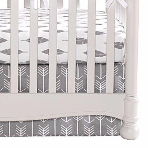 Woodland (White Arrows on Gray) Crib Skirt