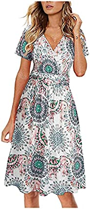 Summer Dresses for Women Midi Dress Boho Floral Print V Neck Cross Wrap High Waist Short Sleeve A Line Beach S