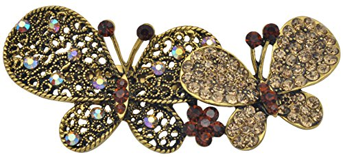 Swarovski Pink Vintage Brooch - Gyn&Joy Womens Vintage Gold-Tone Hollow Butterfly Brooch Pin with Swarovski Element Crystal Rhinestones BZ031-Available In Blue,Brown,Black,Pink or Purple Colors (Brown)