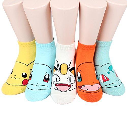 Socksense Choice Famous Japanese Series Animation Print Crew Socks (Pokemon_5pairs)