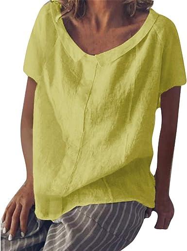 Qingsiy Camisetas Mujer Verano 2019 Blusa Mujer Elegante Camisetas Mujer Manga Corta Algodón Camiseta Mujer Casuales Fiesta Camisetas con Cuello En V Tallas Grandes: Amazon.es: Ropa y accesorios
