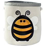 Grey Bee Animal Theme Collapsible Canvas Storage Bin for Kids, Yellow - Bee