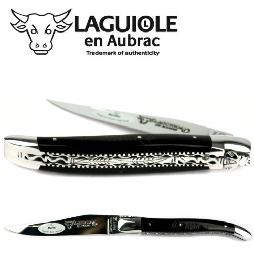 Laguiole en Aubrac Handmade Knife 12 cm Double platines L0712CBIF Buffalo Horn Handle, Blade and bolsters Stainless Steel Shiny
