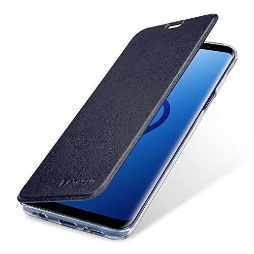 StilGut Samsung Galaxy S9+ (Plus) Case, Wallet Flip Cover with NFC/RFID Blocker for Samsung S9+ (Plus), Dark Blue/Transparent