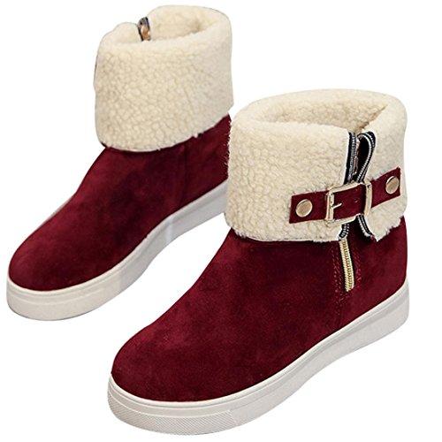 de de deslizante Zapatos de Botas Anti Moda Clásico Casual Otoño Mujer Suave ajustable Tefamore Rojo Invierno de gPRqvYwv