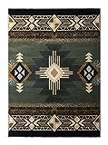 South West Native American Area Rug Design C318 Sage Green (5 Feet X 7 Feet)